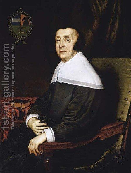 Portrait of a lady of the Sas family, aged seventy-three, seated, three-quarter-length, in a black dress and cap, at a draped table by Adriaen Hanneman - Reproduction Oil Painting