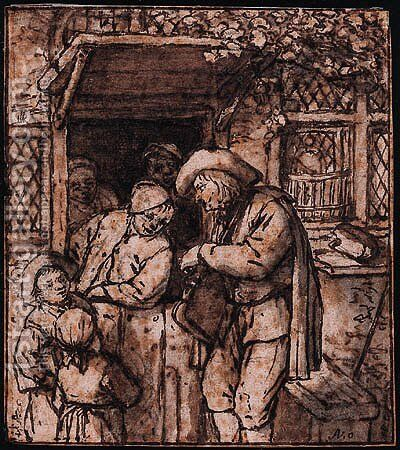 A Hurdy-Gurdy Player at the Door of a House, men and children listening on by Adriaen Jansz. Van Ostade - Reproduction Oil Painting