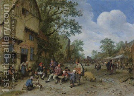A village street with a hurdy-gurdy player and a violinist playing outside a tavern by Adriaen Jansz. Van Ostade - Reproduction Oil Painting