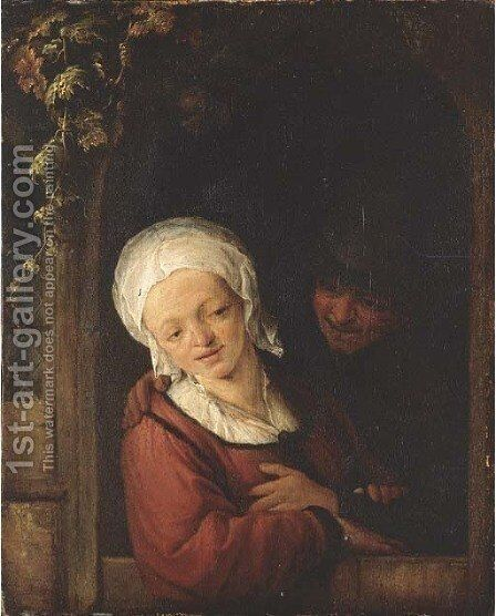 An amorous couple at a cottage door by Adriaen Jansz. Van Ostade - Reproduction Oil Painting