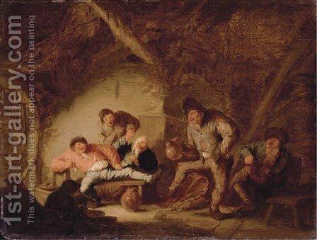 Boors drinking and dancing in a tavern by Adriaen Jansz. Van Ostade - Reproduction Oil Painting