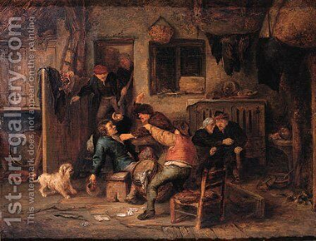 Boors fighting over a game of cards in a barn by Adriaen Jansz. Van Ostade - Reproduction Oil Painting
