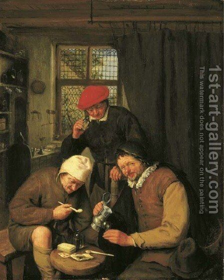 De Drinker Three boors drinking and smoking in a spirit house by Adriaen Jansz. Van Ostade - Reproduction Oil Painting
