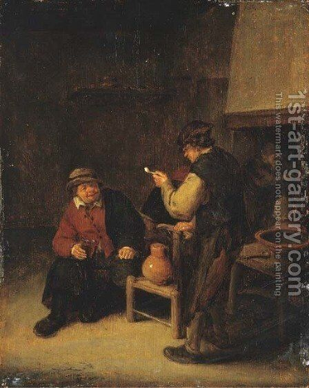 Peasants drinking in an interior by Adriaen Jansz. Van Ostade - Reproduction Oil Painting