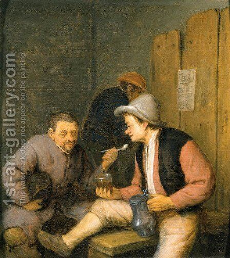 Peasants drinking by Adriaen Jansz. Van Ostade - Reproduction Oil Painting