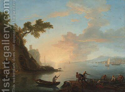 Neapolitan coastal views with a Dutch warship and fishermen in a harbour by Adrien Manglard - Reproduction Oil Painting