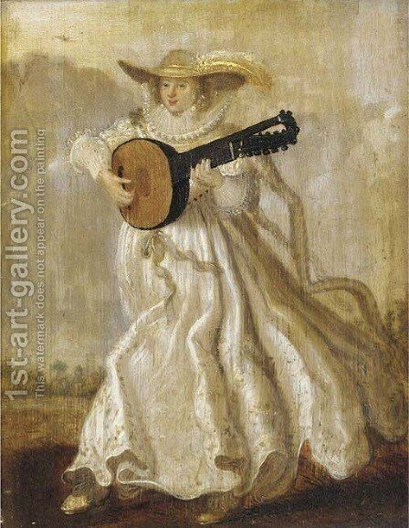 A lady dancing and playing the lute in a landscape by Adriaen Pietersz. Van De Venne - Reproduction Oil Painting