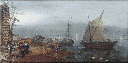 A river landscape with figures on the bank near an inn, shipping beyond by Adriaen Pietersz. Van De Venne - Reproduction Oil Painting