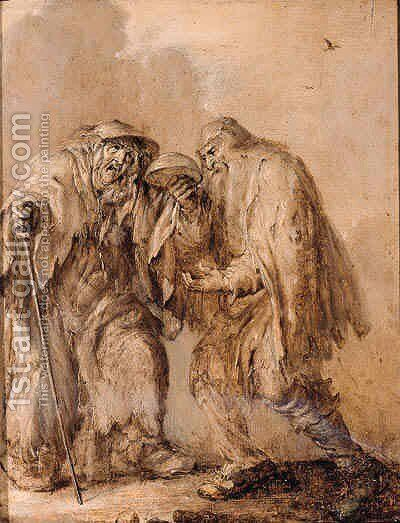 An old couple begging he holding an upturned bowl, she holding a cane - en brunaille by Adriaen Pietersz. Van De Venne - Reproduction Oil Painting