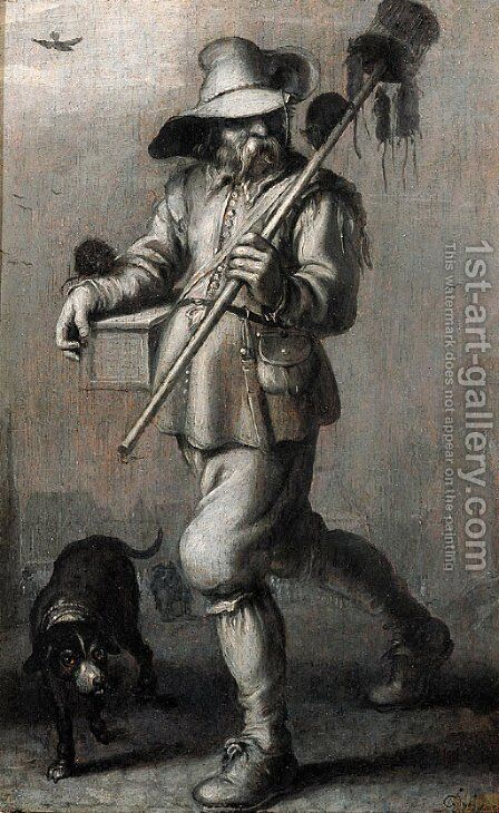 A Ratcatcher - en grisaille by Adriaen Pietersz. Van De Venne - Reproduction Oil Painting