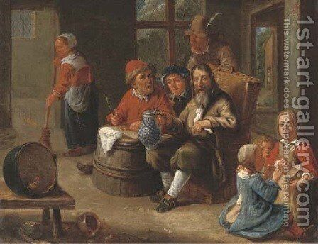 Peasants smoking and drinking with children making music and an old woman in an interior by Adriaen Rombouts - Reproduction Oil Painting