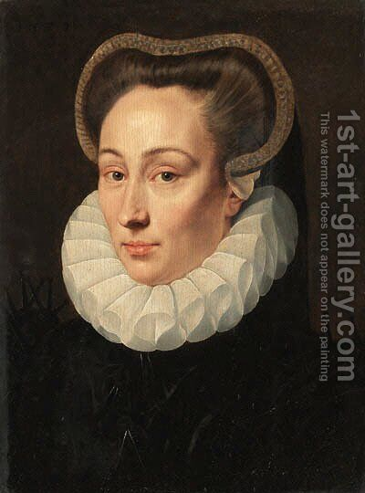 Portrait of a lady, bust-length, in a black brocade dress with an organza ruff by Adriaan Key - Reproduction Oil Painting