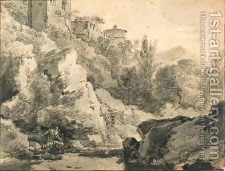 Italianate buildings on a rocky rise by a river, hills beyond by Adrian van der Cabel - Reproduction Oil Painting