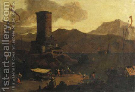 A Mediterranean coastal landscape with fishermen and merchants on a quay by a ruined tower, at sunset by Adriaen Van Der Kabel - Reproduction Oil Painting