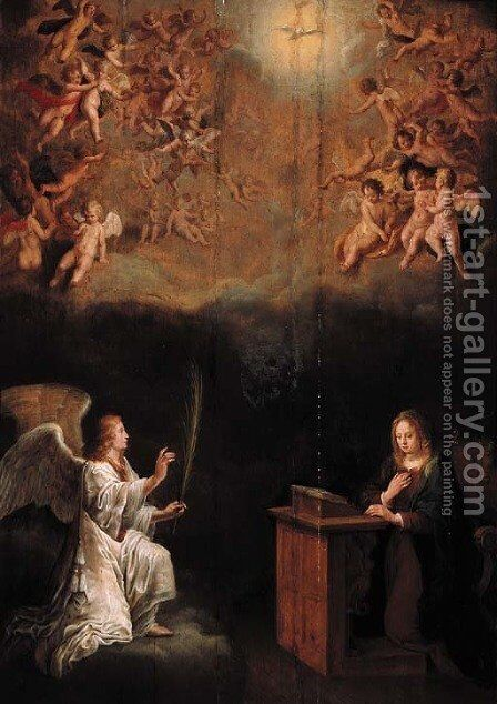 The Annunciation by Adriaen van Nieulandt - Reproduction Oil Painting
