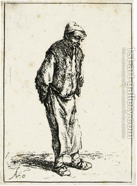 Peasant with his Hands behind his Back by Adriaen Jansz. Van Ostade - Reproduction Oil Painting