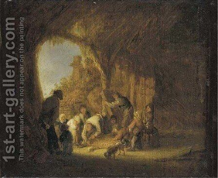 Peasants in a barn by Adriaen Jansz. Van Ostade - Reproduction Oil Painting
