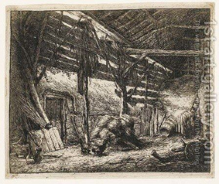 The Barn (Bartsch, Godefroy 23) by Adriaen Jansz. Van Ostade - Reproduction Oil Painting