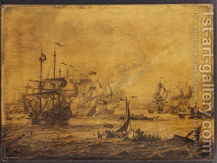 A naval engagement between English and Dutch men-of-war - a penschilderij by Adriaen or Abraham Salm - Reproduction Oil Painting