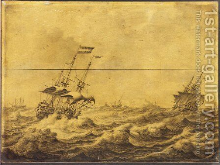 Dutch Galley Frigates and others shipping in choppy seas - a penschilderij by Adriaen or Abraham Salm - Reproduction Oil Painting