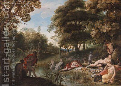 A wooded landscape with Diana and her nymphs resting after the chase by Adriaan van Stalbemt - Reproduction Oil Painting