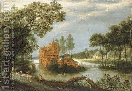 A river landscape with sportsmen shooting from a boat by a farm and peasants on a path by Adriaan van Stalbemt - Reproduction Oil Painting