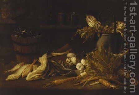 A barrel of mussels, a dogfish and other fish with turnips, carrots, a cabbage and a bucket with artichokes and asparagus on a ledge by Adriaen van Utrecht - Reproduction Oil Painting