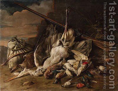 A dead heron, a duck, kingfishers, songbirds and other birds with a bag by a wall, in a landscape by Adriaen van Utrecht - Reproduction Oil Painting