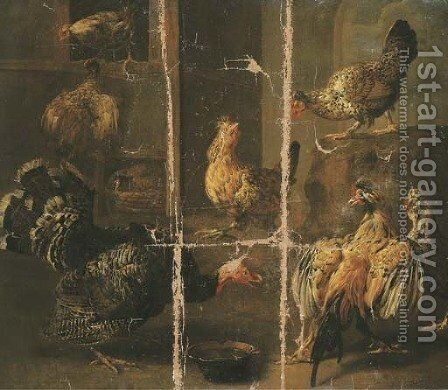 A turkey and chickens in a yard by Adriaen van Utrecht - Reproduction Oil Painting