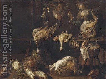 An interior with a kitchen maid, dead game birds hanging, two dead hares in a basket and asparagus, cabbage, cauliflower and melons on the floor by Adriaen van Utrecht - Reproduction Oil Painting