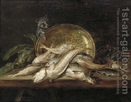 Fish, crabs, mussels, an artichoke, a copper pot and a cat on a table by Adriaen van Utrecht - Reproduction Oil Painting