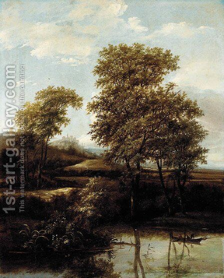 A river landscape with fishermen on a boat, a town and castles beyond by Adriaen Hendricksz Verboom - Reproduction Oil Painting