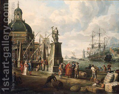 A capriccio of a Mediterranean harbour by Adriaen Verdoel - Reproduction Oil Painting