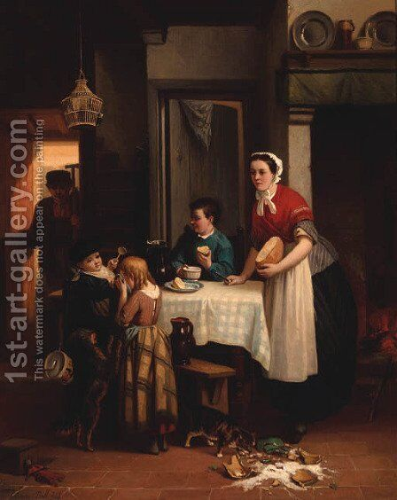 The spilt milk by Adrian Joseph Verhoeven-Ball - Reproduction Oil Painting