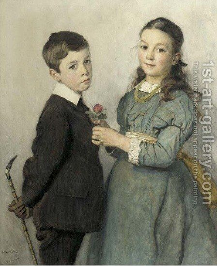 Portrait of a young boy and girl, three-quarter lengths by Adrian Scott Stokes - Reproduction Oil Painting