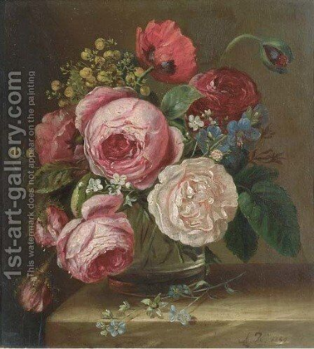 Roses in a glass vase on a ledge by Adriana-Johanna Haanen - Reproduction Oil Painting