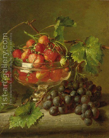 A still life with strawberries and grapes by Adriana-Johanna Haanen - Reproduction Oil Painting
