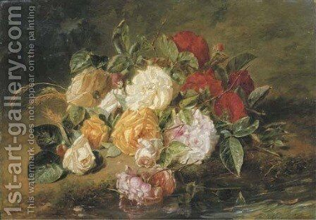 Roses by a stream by Adriana-Johanna Haanen - Reproduction Oil Painting