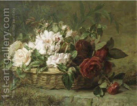 Roses in a basket by Adriana-Johanna Haanen - Reproduction Oil Painting