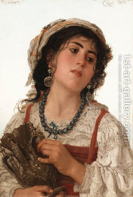 A young Italian peasant girl by Adriano Bonifazi - Reproduction Oil Painting