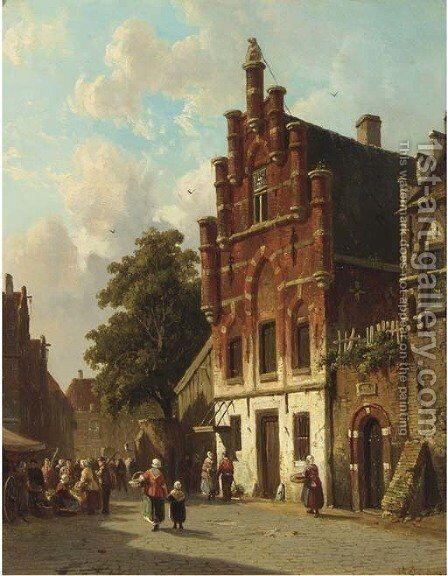 A busy day on a sunlit Dutch street by Adrianus Eversen - Reproduction Oil Painting