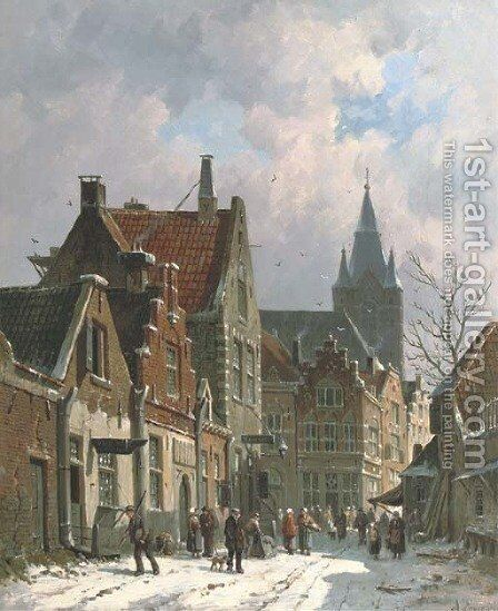 A busy street in Delft in winter by Adrianus Eversen - Reproduction Oil Painting