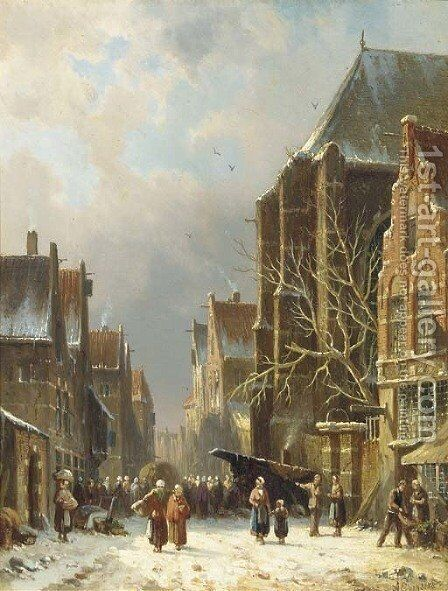 A busy street in winter by Adrianus Eversen - Reproduction Oil Painting