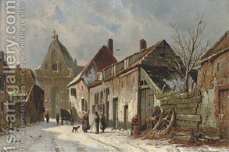 A Dutch street in winter by Adrianus Eversen - Reproduction Oil Painting