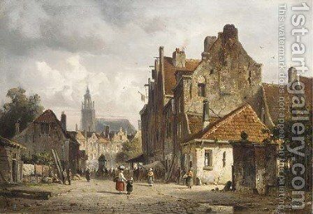 A town in summer by Adrianus Eversen - Reproduction Oil Painting