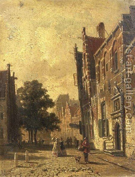 A town scene with elegant people strolling by Adrianus Eversen - Reproduction Oil Painting