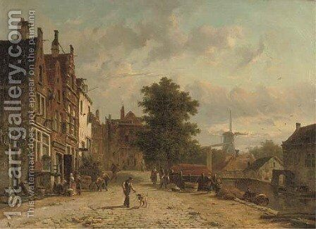 Daily activities on the Baangracht in Amsterdam with the windmill on the Brouwersgracht beyond by Adrianus Eversen - Reproduction Oil Painting