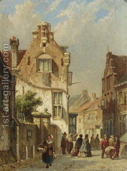 Elegant figures in a sunlit street by Adrianus Eversen - Reproduction Oil Painting