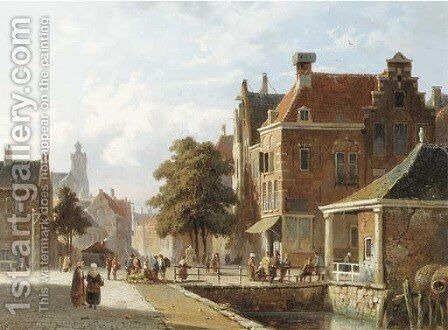 Figures by a canal in a sunlit Dutch town by Adrianus Eversen - Reproduction Oil Painting