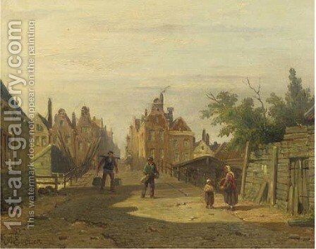 Figures on the bridge by the Bikkereiland, Amsterdam by Adrianus Eversen - Reproduction Oil Painting